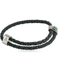 ALEX AND ANI Malachite Braided Leather Bracelet - Black