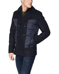 Guess Fashion Pea Coat With Quilted Detail