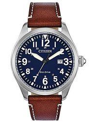 Citizen - Chandler Stainless Steel Quartz Watch With Leather Calfskin Strap, Brown, 21 (model: Bm6838-17l) - Lyst