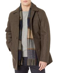 Tommy Hilfiger Wool Melton Walking Coat With Attached Scarf - Brown