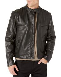 Hudson Jeans Jeans Leather Café Racer Jacket - Black