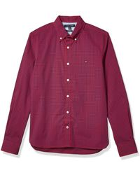 Tommy Hilfiger Charles Custom-fit Stretch Gingham Check Shirt - Red