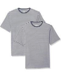 Amazon Essentials Regular-fit Short-sleeve Stripe V-neck T-shirts - Blue