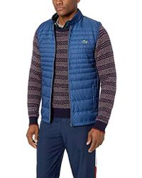Lacoste Mixed Media Vest With Down Padding - Blue