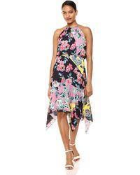Parker Cecelia Halter Neck High Low Midi Dress - Multicolor