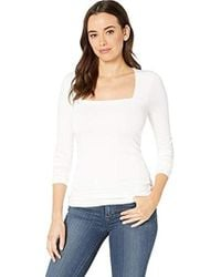 Three Dots Refined Jersey Long Sleeve Square Neck Top - White