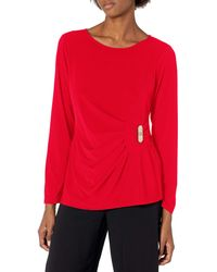 Calvin Klein Long Sleeve Blouse With Ck Hardware - Red