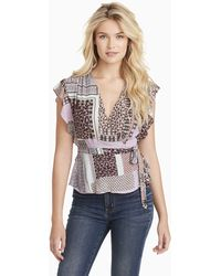 Jessica Simpson Plus Size Paislee Short Sleeve Surplice Blouse - Multicolor