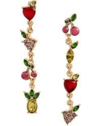 Betsey Johnson Mixed Fruit Mismatched Linear Earrings - Multicolor