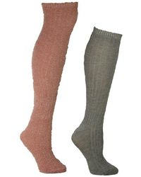 Betsey Johnson Slouchy Feather Boot Sock With Lurex Bj42092 - Gray