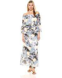Nine West Off The Shoulder Bell Sleeve Maxi Dress - Multicolor