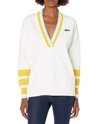 Lacoste Long Sleeve Striped Color V-neck Sweater - White