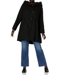 Steve Madden Plus-size Single Breasted Wool Coat - Black