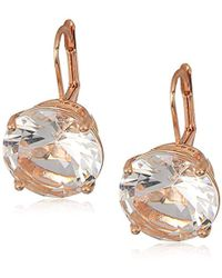 T Tahari - Essentials Prong Set Stone On Leverback Drop Earrings, Rose Gold, One Size - Lyst