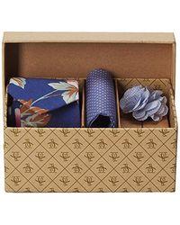 Original Penguin 3-piece Floral Tie, Pocket Square & Lapel Pin Box, Blue, One Size
