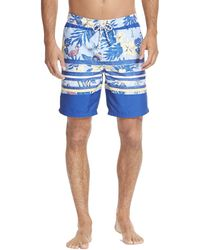 Izod Printed Swim Trunks With Mesh Lining - Blue