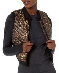 Calvin Klein Cropped Diagnol Quilt Vest With Sweater Rib Trim - Multicolor