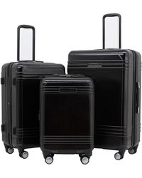 French Connection 3 Piece Horizon Expandable Spinner Luggage Set - Black