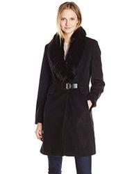 Ivanka Trump Wool Faux Fur Toggle Coat - Black