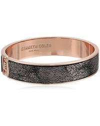 Kenneth Cole - Supercharged Collection Rose Gold Hinge With Grey Leather Bangle Bracelet - Lyst