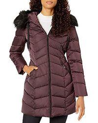 T Tahari Heavy Weight Puffer Coat With Faux Fur Hood - Purple
