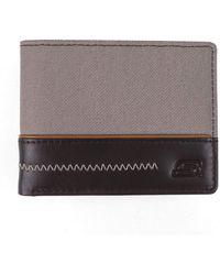Skechers Slimfold Canvas Vegan Leather Rfid Wallet - Brown