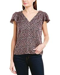 Rebecca Taylor Sleeveless V-neck Printed Top - Blue