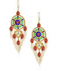 Miguel Ases Large Dreamcatcher Multi-dangle Fringe Chain Chandelier Drop Earrings - Multicolor