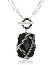 Napier - Jet And Silver-tone Pendant Necklace - Lyst