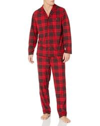 Nautica Cozy Fleece Plaid Pajama Set - Red