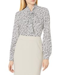 Tahari Long Sleeve Bow Blouse - White