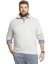 Geoffrey Beene Big & Tall Tall Long Sleeve Stretch Twill 1/4 Zip Pullover - Multicolor