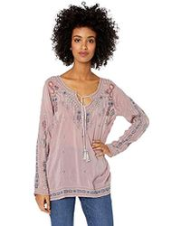 Johnny Was - Embroidered Tie Neck Blouse - Lyst