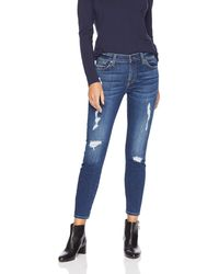 7 For All Mankind Destroyed Ankle Gwenevere Skinny Mid Rise Jeans - Blue