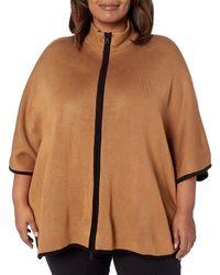 Anne Klein Plus Size Colorblocked Zip Front Cape - Brown
