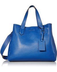 Emporio Armani Designer Slouchy Leather Tote - Blue