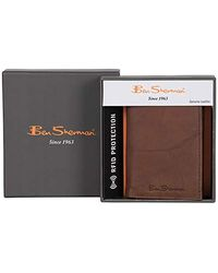 Ben Sherman Manchester Collection Full-grain Marble Crunch Genuine Leather Anti-theft Rfid Slim Travel Wallets - Black