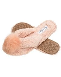 Jessica Simpson Fluffy Pom Pom Thong House Slide On Slippers With Memory Foam - Pink