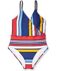 Sperry Top-Sider Cabana Stripe Surplice Deep V-neck One Piece Swimsuit - Blue