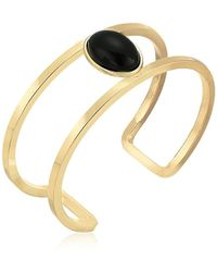 T Tahari - S Marina Club Open White Oval Cuff Bracelet, Gold/jet, One Size - Lyst