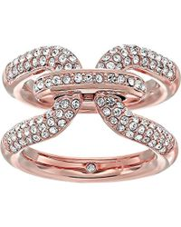 Michael Kors - Brilliance Iconic Links Rose Gold-tone And Pave Ring - Lyst