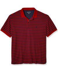 Nautica Mens Classic Fit Short Sleeve 100% Cotton Stripe Soft Polo Shirt - Red