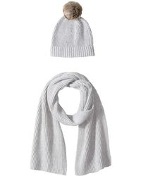 Amazon Essentials Pom Knit Hat And Scarf Set - Gray