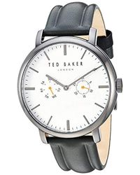 Ted Baker - 'trent' Quartz Stainless Steel And Leather Watch - Lyst