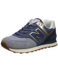 New Balance 574 V2 Metallic Patch Sneaker - Blue