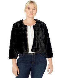 Calvin Klein Plus Size Solid Faux Fur Shrug - Black