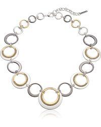 "Nine West ""ring Around"" Tri-tone Collar Necklace - Metallic"
