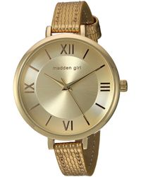 Steve Madden Japanese-quartz Watch With Leather-synthetic Strap - Brown