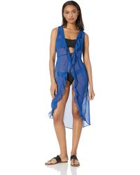 Kenneth Cole Reaction Front Tie Beach Cover Up - Blue