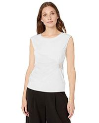 Calvin Klein Sleeveless Wrap Top With Hardware Shirt - White
